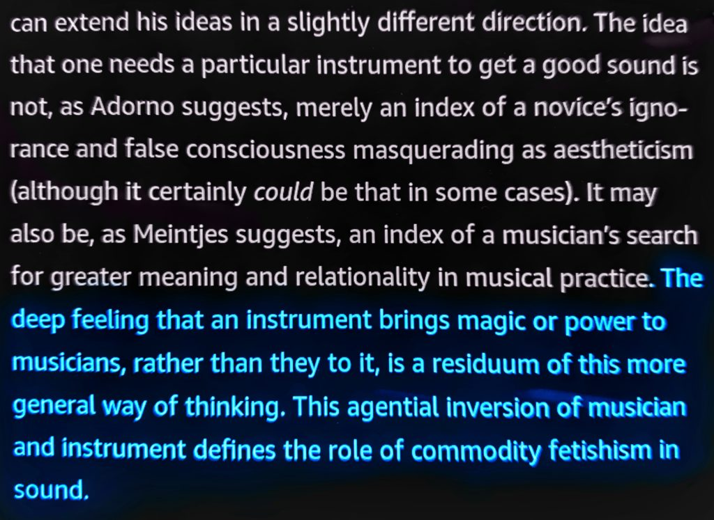 """""""The deep feeling that an instrument brings magic or power to musicians, rather than they to it, is a residuum of this more general way of thinking.  This agential inversion of musician and instrument defines the role of commodity fetishism in sound."""""""